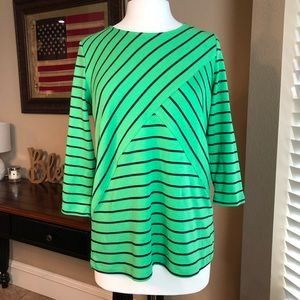 Kim Rogers Blouse/Top - Green & Navy Stripe -Small